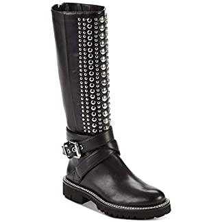 DKNY Womens Babz Leather Round Toe Knee High Riding Boots, Black, Size 9.5 US/US 19