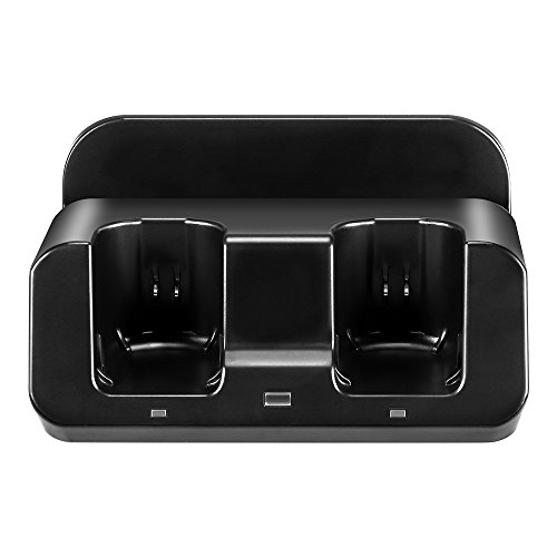 Cosaux FM23 Wii U Ladegerät, Wii-Ladestation für Nintendo Wii U GamePad und Wii Fernbedienung, mit zwei 2800 mAh Akkus und Ladekabel, Schwarz - Die Wii-fernbedienung Ladegerät
