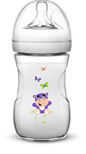 Philips Avent SCF627/22 - Biberón, tetina suave y flexible, anticólicos, PP 0% BPA, 260 ml, color hipopótamo
