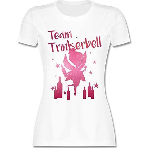 JGA Junggesellinnenabschied - Team Trinkerbell mit Flaschen - XXL - Weiß - L191 - Damen Tshirt und Frauen - Drinkerbell Kostüm