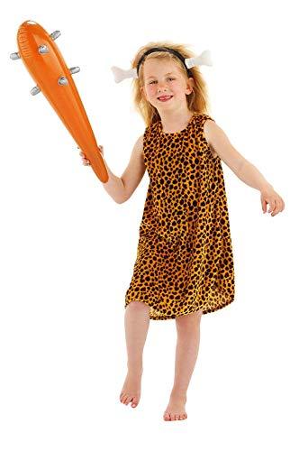 Folat 21847 -Caveman Mädchen Kostüm 2-teiliges, Größe S, braun (Caveman Kostüme Für Kinder)