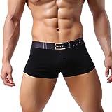 männer sexy unterwäsche boxershorts kurze u konvexe beule beutel underpant (M, Schwarz)