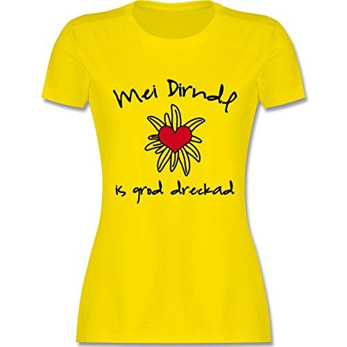 Oktoberfest Damen - Dirndl is dreckad - Shirt statt Dirndl - M - Lemon Gelb - L191 - Damen Tshirt und Frauen T-Shirt - Lustige Schmutzige Damen Shirts