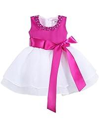 iEFiEL Vestido Bautizo Boda Fiesta Bebé Vestido de Princesa Regalo para  Recién Nacido Bebe con Perlas 96e2d5d157f