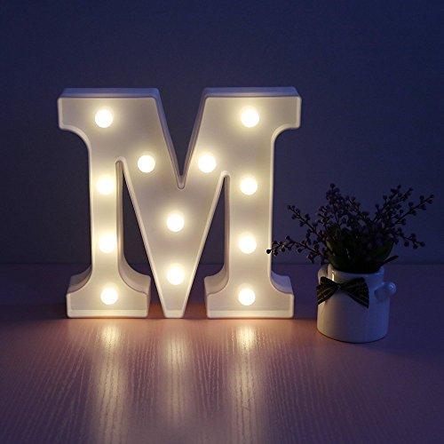 Missley Letras del LED letras blancas del alfabeto LED decorativo para la decoración de la boda del partido (M)