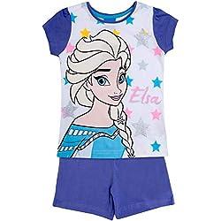 Disney Frozen Anna Elsa - Pijama Corto Morado Purple (Elsa) 5 años
