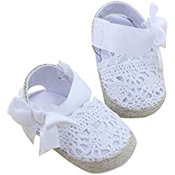 Bebé Prewalker Zapatos Auxma primeros pasos para bebé-niñas,Zapatos de flores de encaje,sandalias de bowknot para 0-6 6-12 12-18 meses (0-6 M, Blanco)