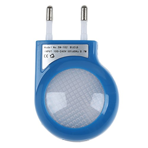 SODIALR Lampara Nocturna LED Sensor Azul 0.7W Enchufe