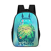 Born for-Anime Comic Backpack Stylish - Green Slim Durable School Backpack Flower-Totoro Pattern Printing Book Bags International Travel Use for Teenagers