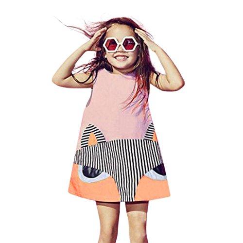 Sommerkleidung Kleinkind Blumenkleid Kind Baby Blumenrock Mädchen Kleider Fuchs Prinzessin Ärmellos Partykleider Outfits Taufbekleidung Hirolan Bekleidung Festzug Kleider (110, Rosa)
