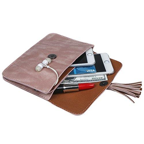 xhorizon Borsa a tracolla in pelle a croce in PU, borsa a moneta con raccoglitore in mini borsa a tracolla della borsa a tracolla con ciondolo a nappa #2