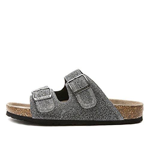 Sandales estate nuove scarpe da donna di tendenza della moda con due piatti in sughero trascinare waichuan (colore : silver, dimensioni : eu 38/us6.5-7/uk 4.5-5/jp25)