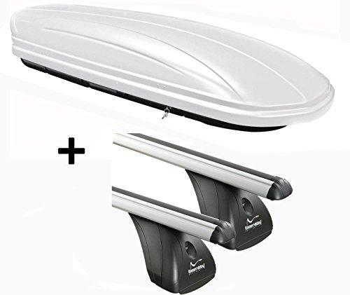 VDP Dachbox weiß VDPMAA320W 320 Liter abschließbar + Aluminium Dachträger Aurilis Original kompatibel mit Opel Corsa D (3-5Türer) 2006-2015