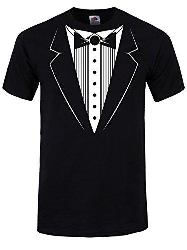 T-Shirt Tuxedo da uomo in nero