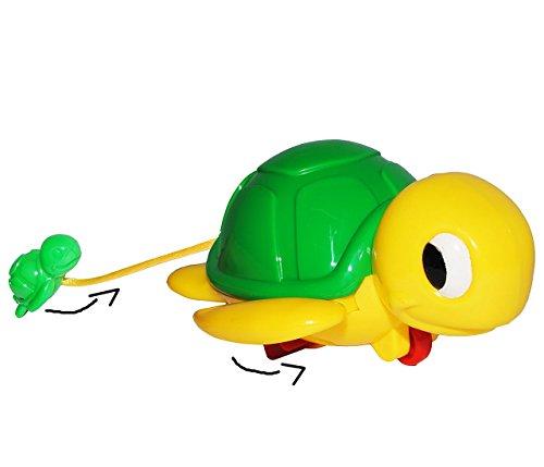 Badewannenspielzeug - schwimmende Schildkröte mit Baby - zum Aufziehen - im Wasser / Fußboden - aufziehen - für Badewanne / Badespielzeug - Wasserspielzeug Ti..