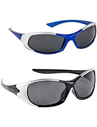 Dervin Kid's Goggles Wrap Around Boy's and Girl's Sports Sunglasses - Combo of 2 (3-6 Years, Blue, Black)