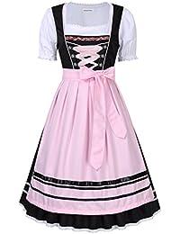 Damen Midi Trachtenkleid für Oktoberfest- Spitzen Kleid, Bluse   b5598ad276
