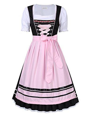 Clearlove Dirndl 3 TLG.Damen Midi Trachtenkleid für Oktoberfest,Spitzen Kleid&Bluse&Schürze, Blau,Rot (40, Rosa Blumen Stickerei)