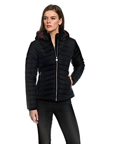 VB Giacca da donna con angoli, trapuntato con collo alto, cappuccio removibile e tasche Black X-Large