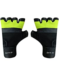 Sports 101 X5000 Twin Net Leather Fitness Gloves, Free Size (Green/Black)