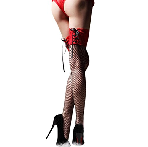 Nylon-gerippte Strumpfhose (Zolimx Sheer Lace Top Strümpfe Strumpf Nets Stay Up (Rot))