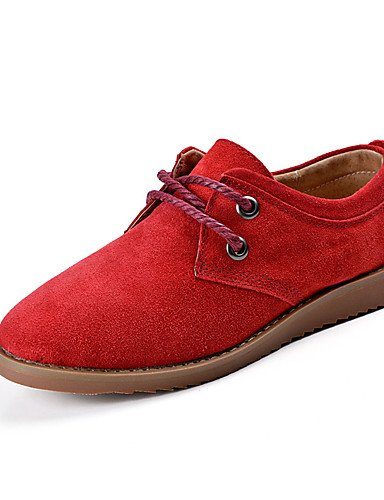 ZQ Scarpe Donna-Stringate-Casual-Comoda-Piatto-Di pelle-Blu / Marrone / Rosso , brown-us8.5 / eu39 / uk6.5 / cn40 , brown-us8.5 / eu39 / uk6.5 / cn40 red-us8.5 / eu39 / uk6.5 / cn40