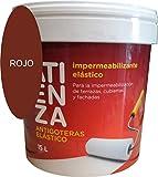 Impermeabilizante elástico antigoteras ATIENZA. De facil aplicación, Para impermeabilizar Terrazas Cubiertas y fachadas. (15 L, ROJO)