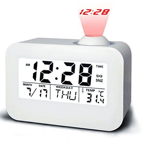 Projektor Wecker Mit LED Nachtlicht,Kalender Wecker Snooze Einschlaffunktion Zeit/Temperatur/Tag/Datum Anzeigen Digitale Bettseite Wecker