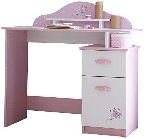 Demeyere 365472 Schreibtisch mit 1 Tür und 1 Schublade Papillon, 100.7 x 95.7 x 50.1 cm, orchidee / weiß
