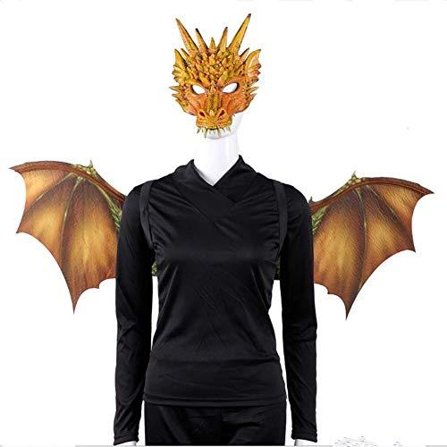 JYPCBHB Halloween Karneval Ostern Fledermausflügel Kostüme Wicked Maske und Flügel Set Cosplay Maske für Erwachsene für Kinder Kinder - Orange Feder Kostüm Flügel