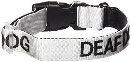 Collar blanco con texto 'deaf dog', para perros sordos o con poca audición, para prevención de accidentes