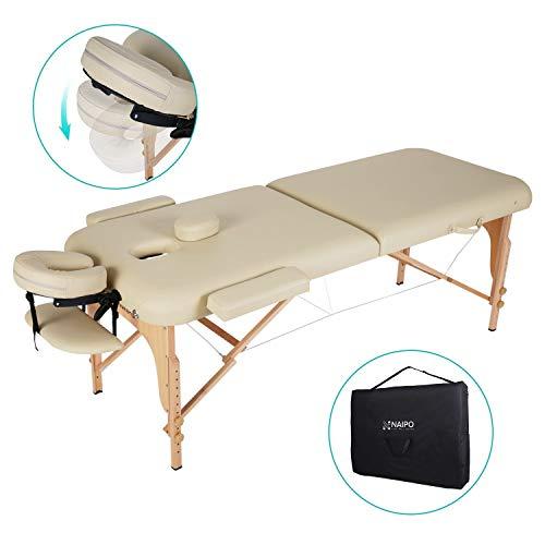 Naipo Massageliege Klappbar mit 2 Zonen tragbaren höhenverstellbaren Holzfüßen Einfache Installation Ergonomische Kopfstütze mit Tragetasche aus hochwertiger deutscher Buche Beine -