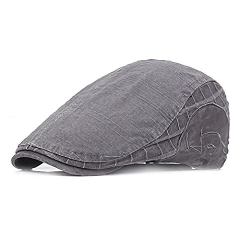 Fasbys Embroidery Flat Cap Cabbie Gatsby Ivy Irish Hunting Newsboy Hat Stretch One Size Fit (Grey)