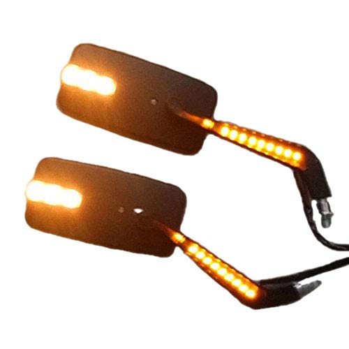 Led rectangular M10 10 mm espejo retrovisor lateral para motocicleta Cruiser Chopper Bobber Custom