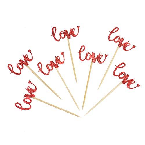Monrocco 20 Stück Glitzer Love Cupcake Toppers Hochzeit Cupcake Toppers Picks Dessert Dekoration Party Jahrestag Valentinstag Dekor (rot)