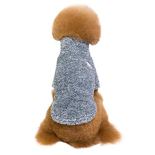 Amphia - Bekleidung Katze,Baumwollsamt gepolsterte Haustierkleidung - Haustier Hund warme Winterkleidung TurtleHals Coral Feece Warm Zwei-Bein-Kleidung(Blau,XXL) -