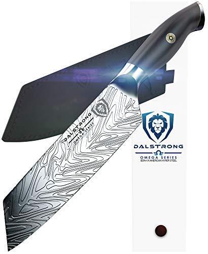 Dalstrong Knife - Omega Serie - BD1N Stickstoff Stahl - Collector Edition Set - Akazienholzständer - inkl. Scheide (7-Zoll-Santokumesser)