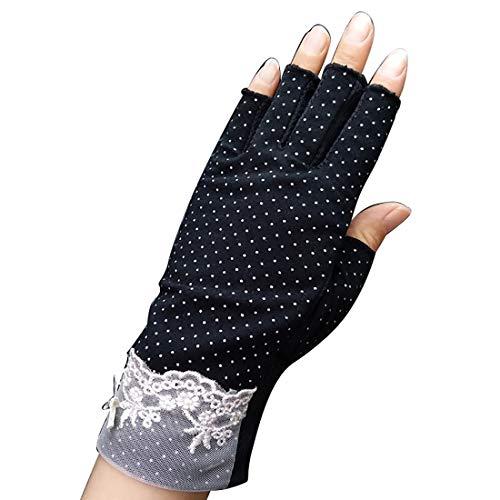Damen Sommer Halbfinger Handschuhe Spitzenhandschuhe Anti-Rutsch,Anti-UV Schutz für Golf Outdoor Motorrad Radfahren