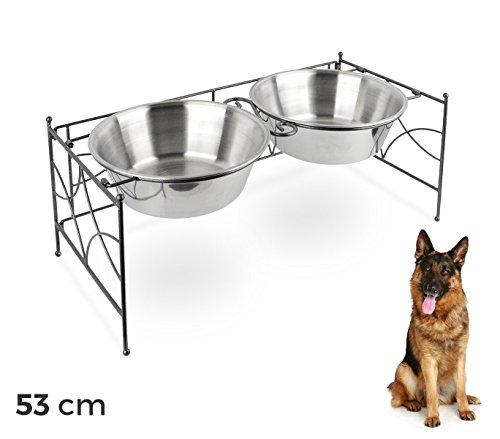 521029 Doppia ciotola per cani in acciaio con supporto rialzato 53 x 22 cm. MEDIA WAVE store