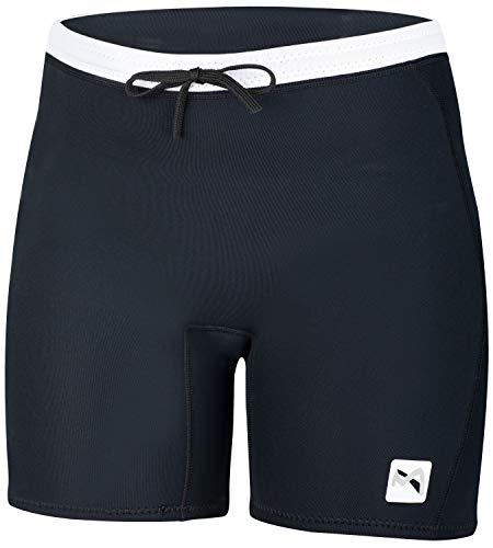 MESLE Neopren Shorts Bermuda Women, Neopren-Hose für Frauen, 2 mm Flex Stretch Neopren, Schnürverschluss, schwarz weiß, Damen Größe:38