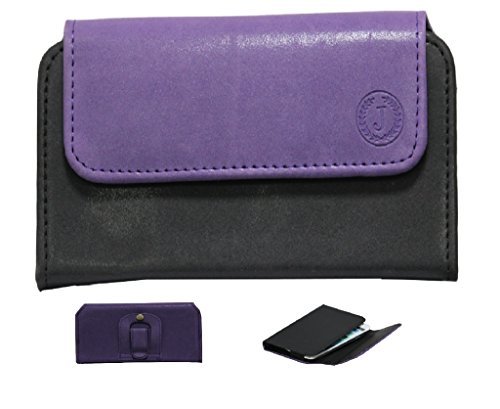 Jo Jo A4 Nillofer Belt Case Mobile Leather Carry Pouch Holder Cover Clip For LG Google Nexus 5 (16GB) Purple Black