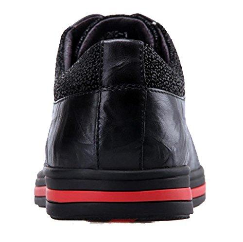 SONGYUNYAN Herren outdoor-Freizeit Kuh Korn Leder atmungsaktiv Mode Sneaker Bootsschuh Black