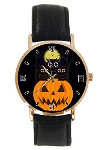 (Moon Night Owl and Halloween Kürbis Laterne Armbanduhr Fashion Classic Unisex Analog Quarz Edelstahl Gehäuse Lederarmband Uhren)
