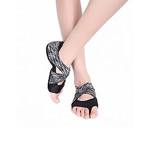 AiYoYo Anti-Rutsch Yoga Socken Yoga Schuhe 2 in 1 Zehensocken Schuhe aus Biologischer Baumwolle mit Offenen Zehen für Ballet,Yoga,Pilates,Tanz Sport