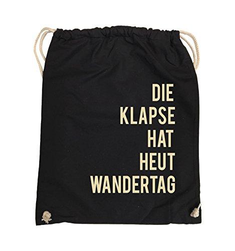 Comedy Bags - DIE KLAPSE HAT HEUT WANDERTAG - Turnbeutel - 37x46cm - Farbe: Schwarz / Weiss Schwarz / Beige