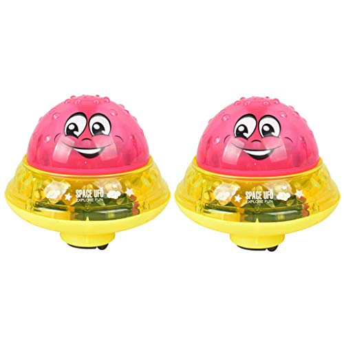 Watopi 2pcs Cute Sparkling Induction Sprinkler Light Bath Toy Baby Spray Ball LED, 2 Music with Flashing Light for Baby Toddlers Safe Electric