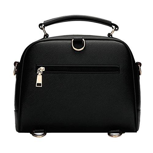 VALIN S807 Nouveau style PU Cuir Sacs portés épaule Sacs portés main,245×115×220(mm) Noir