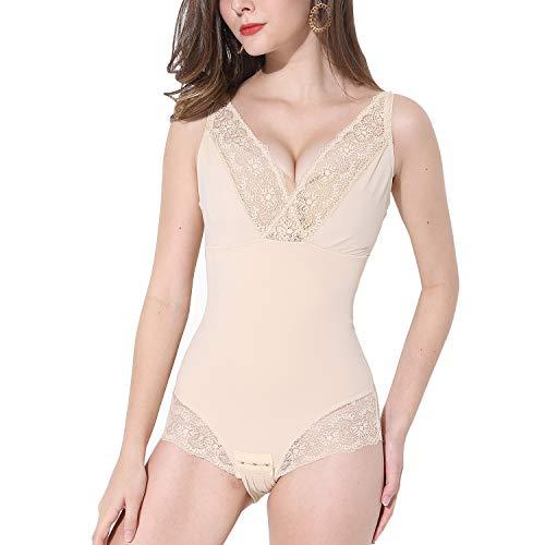 PAUKEE Shapewear Damen Bodysuit Figurformender Body mit Bauch-Weg-Effekt Stark Formend Body Underwear für Frau Bodyformer(L,Beige)