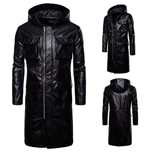 Giacca con cappuccio uomo in pelle nera,giubbotto uomo giacca ecopelle cappuccio nero casual felpato tasche zip regular da zolimx