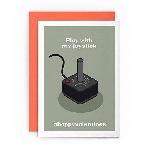 Play with My Joystick - Lustige lustige freche Retro Gaming Grußkarte Liebe für Ihn Freund Freundin Ehemann Frau Gay St. Cupid Valentine ()